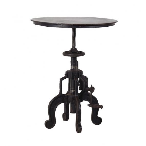 Industrial iron end table