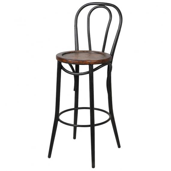 Industrial metal bar stool with wooden seat