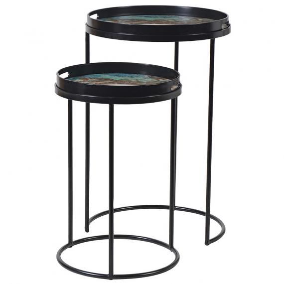 Marble set of two green effect side tables
