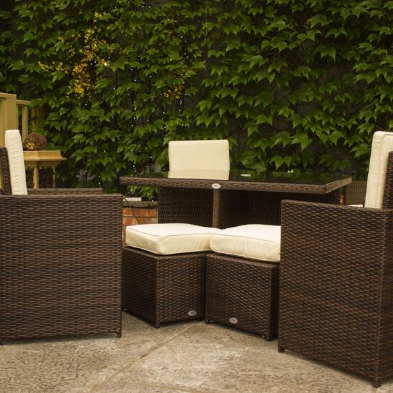 4 seater cube set brown weave