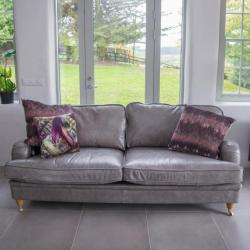 Balmoral 3 seater light grey leather