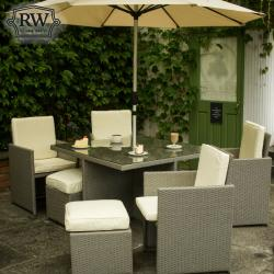 4 seater cube set grey rattan