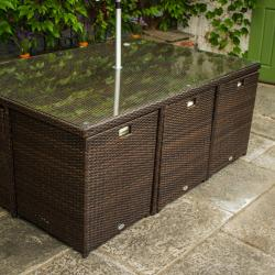 6 seater cube set brown rattan