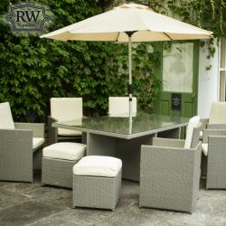 6 seater cube set grey rattan