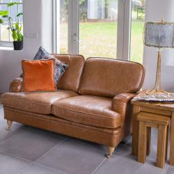 Balmoral 2 seater brown leather