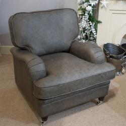Balmoral armchair grey leather