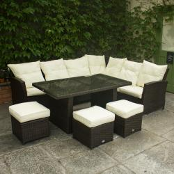 Corner rattan sofa with 3 stools