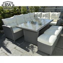 Corner sofa set grey rattan