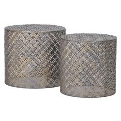 Cylindrical iron end tables