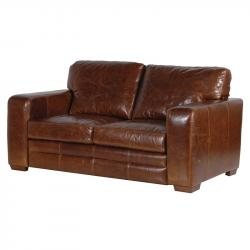 Industrial 2 seater leather sofa