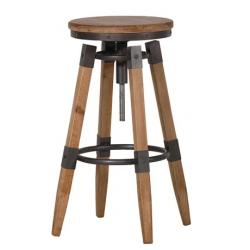 Industrial wood and metal bar stool