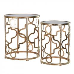 Quatrefoil set of 2 gold round tables
