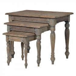 Rustic french pine nest of tables