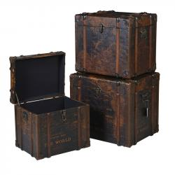 Trunk set of 3 world map boxes