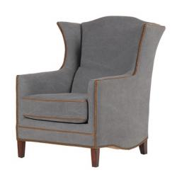 Vintage grey wing chair with brown piping