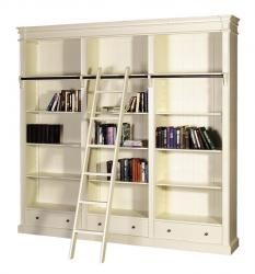 French chic library bookcase with ladder cream