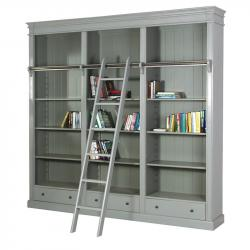 French chic library bookcase with ladder grey