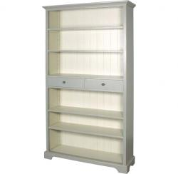 French chic open bookcase with drawers grey