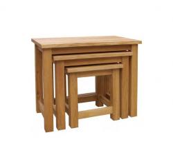 Manhattan oak nest of 3 tables