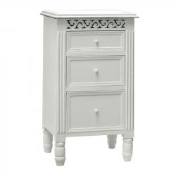 White 3 drawer bedside