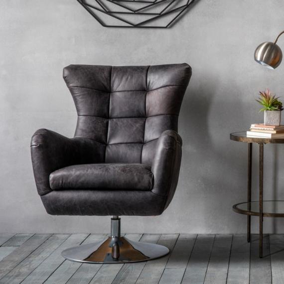 Modern Leather Swivel Chair (Antique Ebony) - Rathwood