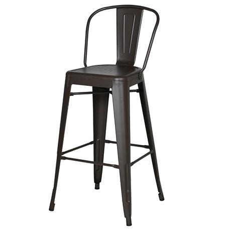 Industrial dark stainless steel bar stool