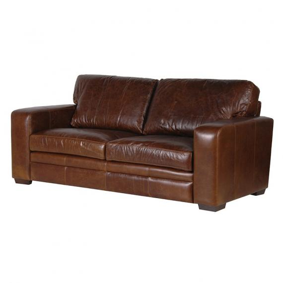 Industrial leather 3 seater sofa