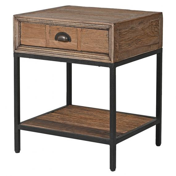 Industrial rustic single drawer side table