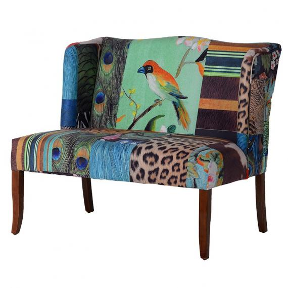 Peacock abstract collage 2 seater