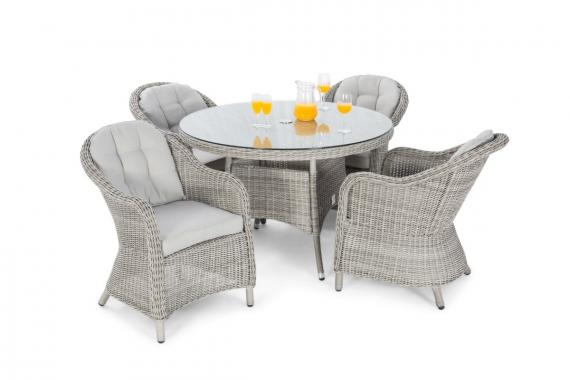 Sepino 4 seater round set grey
