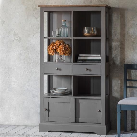 Rustic grey bookcase