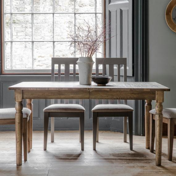 Rustic oak 5ft extending dining table