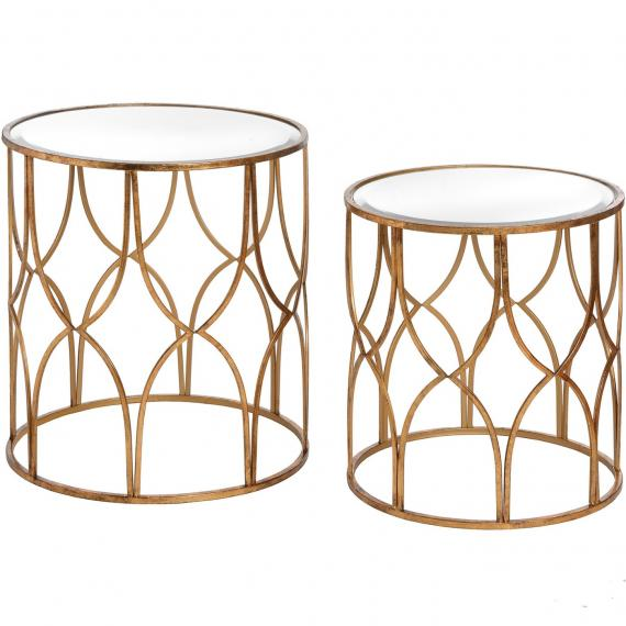 Vintage lattice detail gold side tables pair