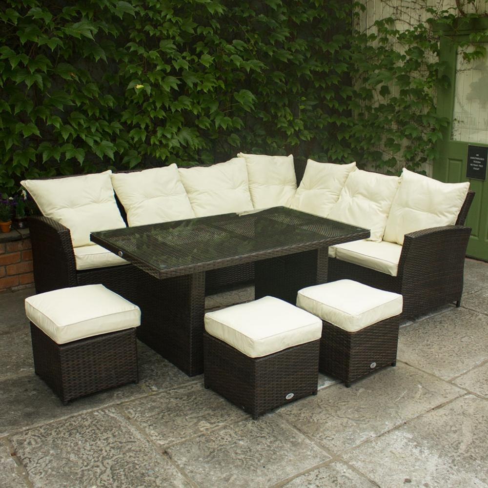 Corner Rattan Sofa With 3 Stools