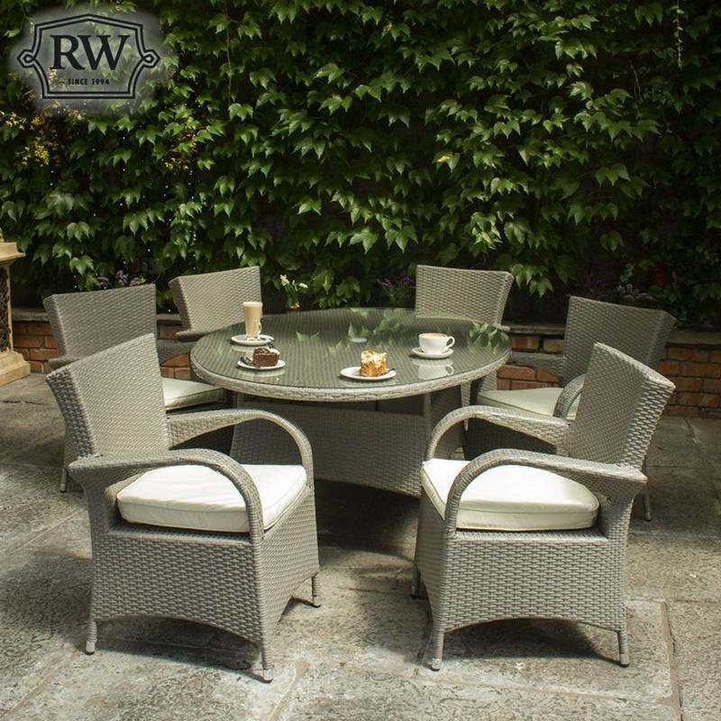 garden furniture rattan furniture merrion grey 6 seater set - Garden Furniture 6 Seater Sets