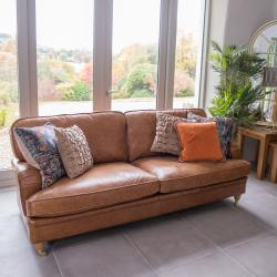Balmoral vintage 3 seater brown leather