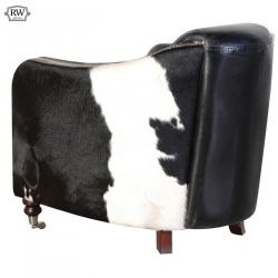 Industrial black white leather hide chair