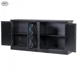 French chic 4 drawer mirrored sideboard black