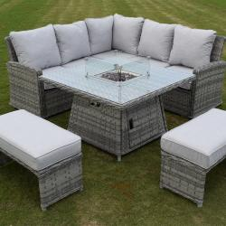 Boston casual dining fire pit set light grey