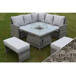 Boston casual dining firepit set dark grey