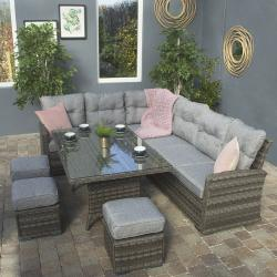 Boston corner sofa dining set dark grey