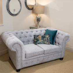 Chesterfield 2 seater grey fabric