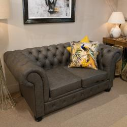 Chesterfield 2 seater grey leather