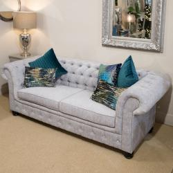 Chesterfield 3 seater grey fabric