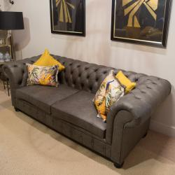 Chesterfield 3 seater grey leather