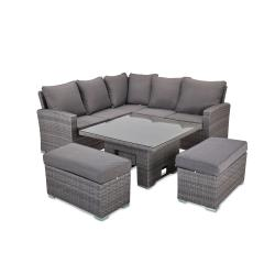 Cuba corner sofa set with square rising table grey