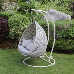Double pod hanging chair grey