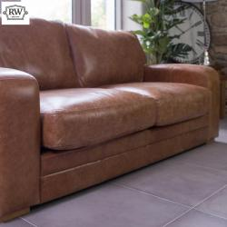 Hudson 3 seater brown leather