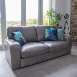 Hudson 3 seater grey leather ex display
