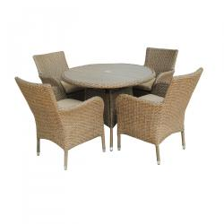 Lisbon 4 seater round dining set polywood natural